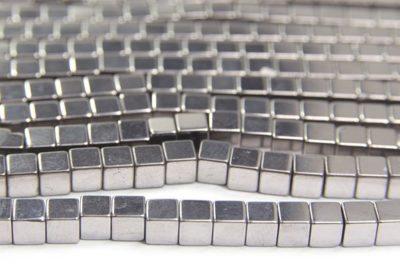 Silver 4mm Hematite Cube