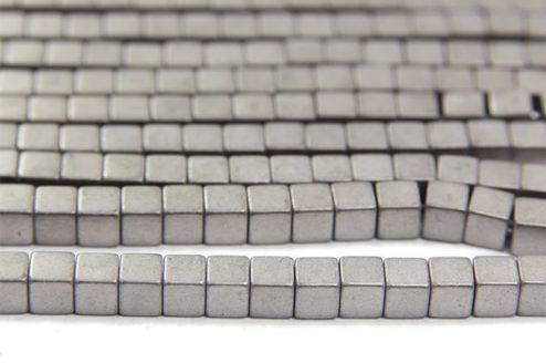 Matte Silver 4mm Hematite Cube