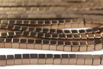 Bronze 4mm Hematite Cube