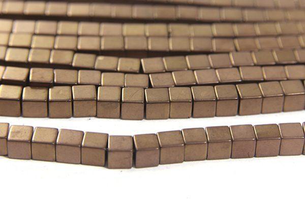 Matte Bronze 4mm Hematite Cube