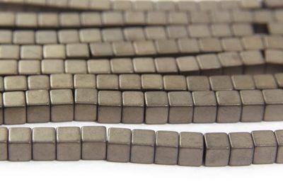 Matte Stone 4mm Hematite Cube
