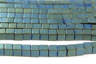 Matte Bluegrass 4mm Hematite Cube
