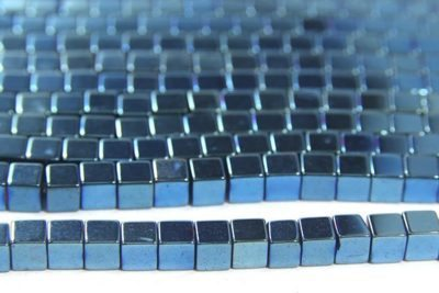 Ice Blue 4mm Hematite Cube