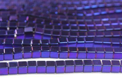 Elecric Blue 4mm Hematite Cube