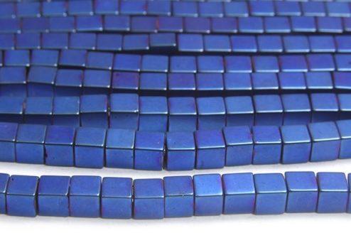 Matte Electric Blue 4mm Hematite Cube