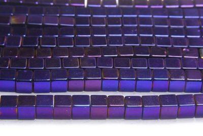 Electric Purple 4mm Hematite Cube