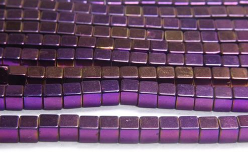 Mystic Purple 4mm Hematite Cube