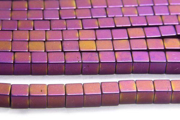 Matte Mystic Purple 4mm Hematite Cube