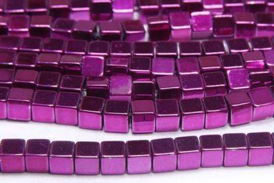 Magenta 4mm Hematite Cube