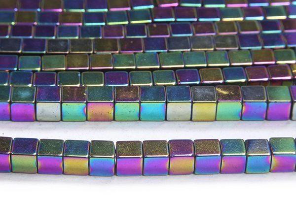 Rainbow 4mm Hematite Cube