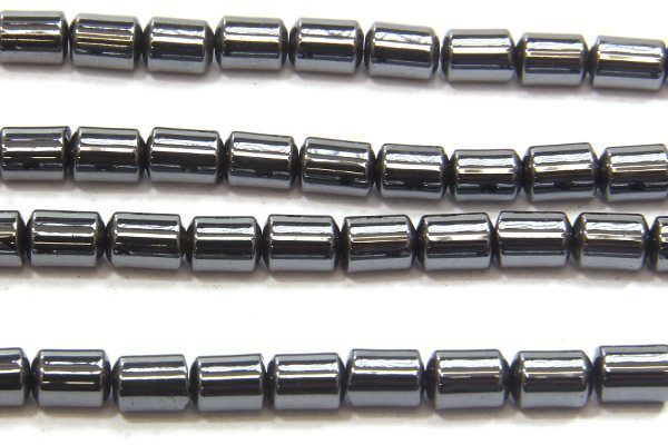 Natural 4mm x 5mm Cylinders Hematite