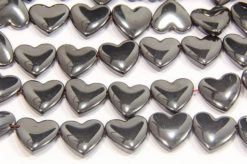 Natural 12mm Hearts Side Drill Hematite