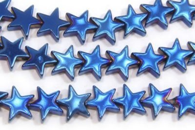 Electric Blue 8mm Stars Hematite