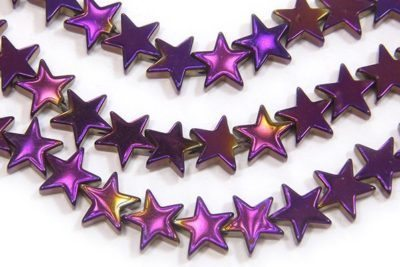 Mystic Purple 8mm Stars Hematite