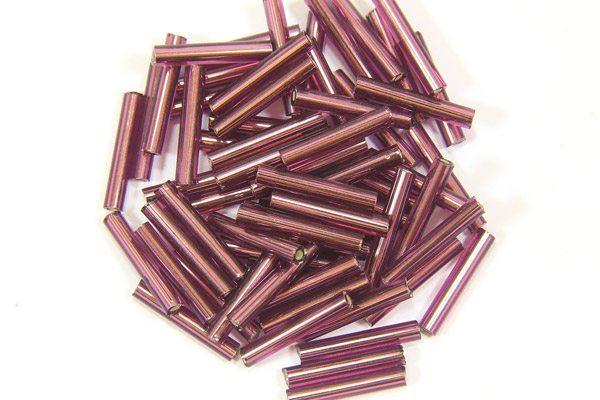 Lustre Coated Wine Purple Preciosa Bugle Beads