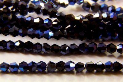 2mm Midnight Blue Crystal Bicones