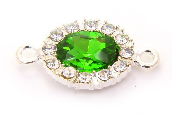Light Emerald Oval Crystal Connector