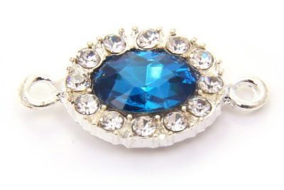 Azure Blue Oval Crystal Connector