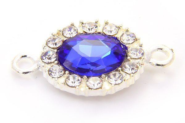 Neptune Blue Oval Crystal Connector