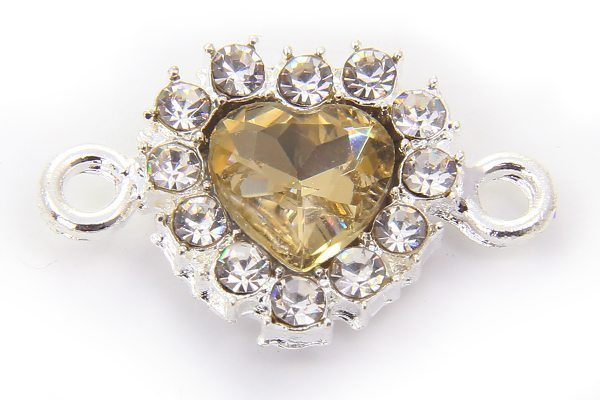 Champagne Heart Crystal Connector
