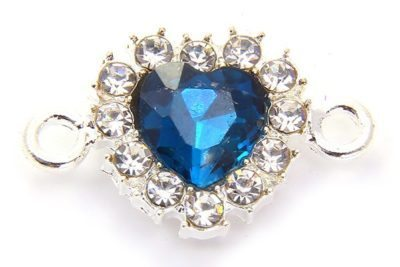 Azure Blue Heart Crystal Connector