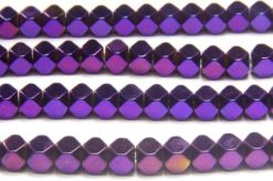 Mystic Purple 4mm Facetted Hematite Cubes