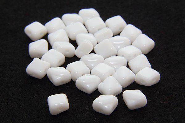 Opaque White Czech Silky Beads