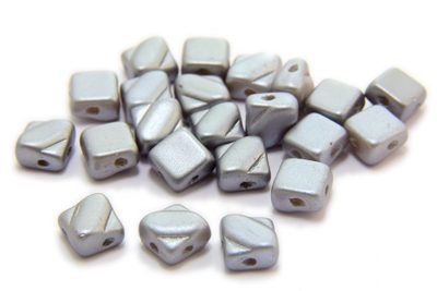 Satined Silver Czech Silky Beads