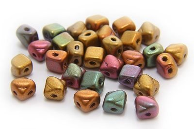 Satined Copper Violet Mix Czech Silky Beads