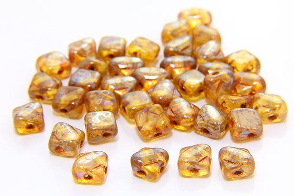 Picasso Golden Amber Czech Silky Beads