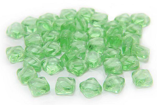 Transparent Ice Green Czech Silky Beads