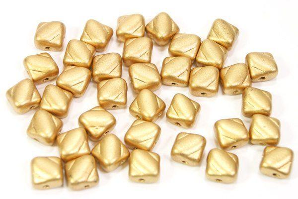 Satined Gold Czech Silky Beads