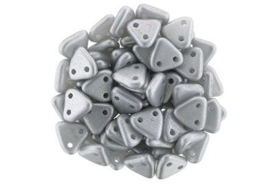 Satin Silver 2-Hole Triangle Beads