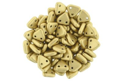 Satin Flax Gold 2-Hole Triangle Beads
