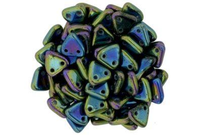 Iris Green 2-Hole Triangle Beads