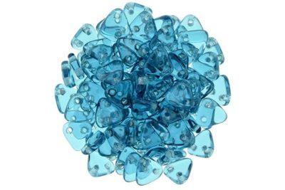 Transparent Teal 2-Hole Triangle Beads