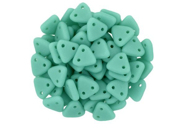 Matte Opaque Turquoise 2-Hole Triangle Beads