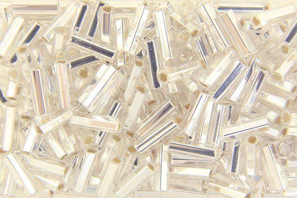Silver Lined Clear Preciosa Bugle Beads