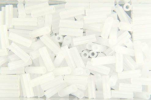 Opalescent White Preciosa Bugle Beads