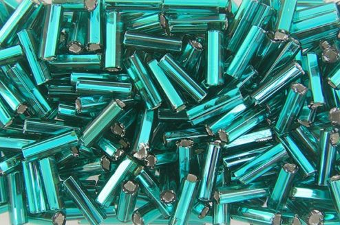 Silver Lined Teal Preciosa Bugle Beads