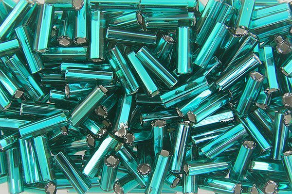 Silver Lined Teal Preciosa Bugle Beads