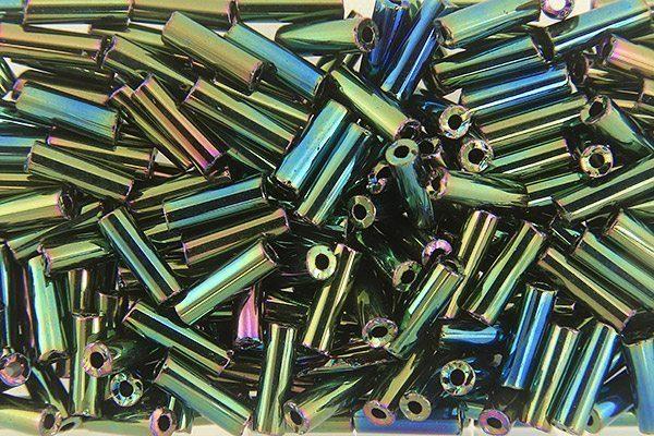 Green Iris Preciosa Bugle Beads