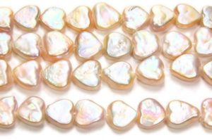 Natural Apricot Heart Pearls