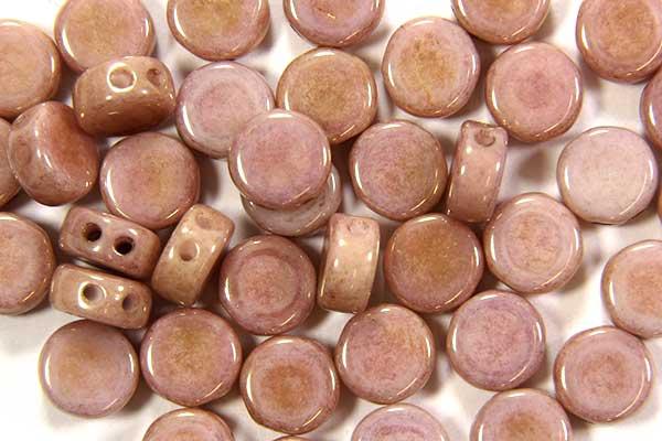 Lustre Light Salmon DiscDuo Beads