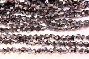 Metallic Silver Crystal Bicones