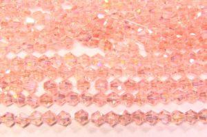 Rose Quartz AB Crystal Bicones