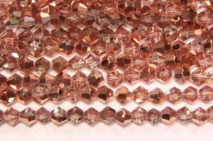 Demi Coated Rose Gold Crystal Bicones