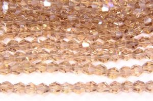 Beige Champagne AB Crystal Bicones
