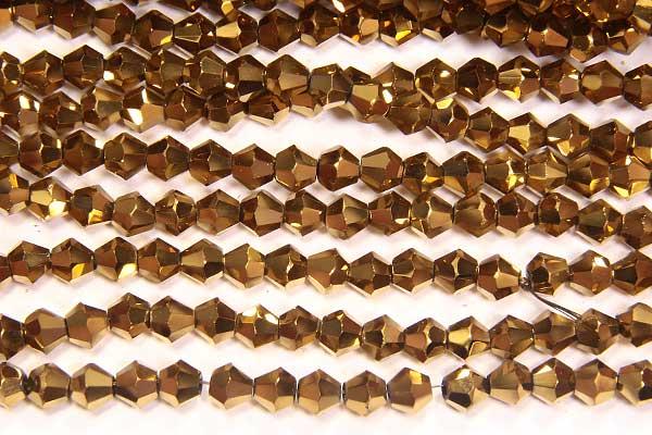 Metallic Gold Crystal Bicones