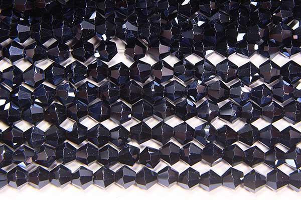 Metallic Midnight Blue Crystal Bicones